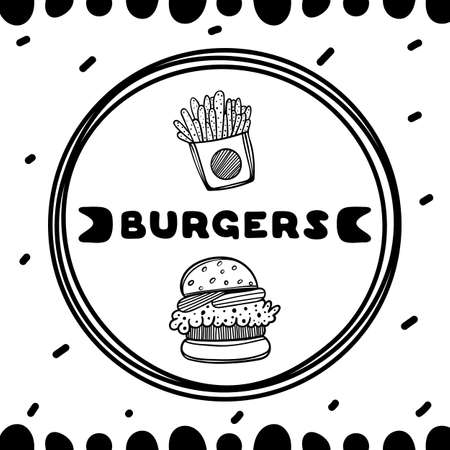 Burgers cover for cafe. Sketch concept illustration. Food flyer. Stock Illustratie