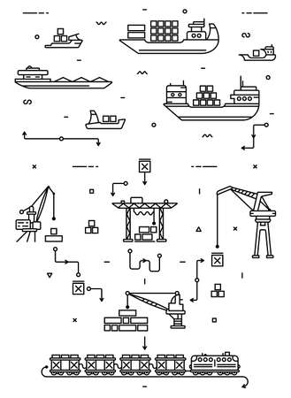 Global cargo logistics concept. Sea delivery with freight ships, port and freight cranes. Rail transportation. Flat infographics. Linear thin illustration. Illustration