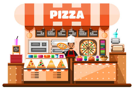 Pizza house interior with italian pizzaiolo holding hot pizza and standing behind of desks counter with pizza making equipment, menu and goodies. Flat Illustration