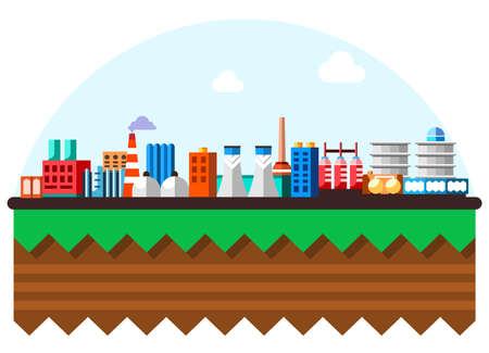 Global industrial factory technology process with ecology concept. Structure of the earth. Flat illustration of manufacturing buildings. Cartoon layers of the earth. Papercut style