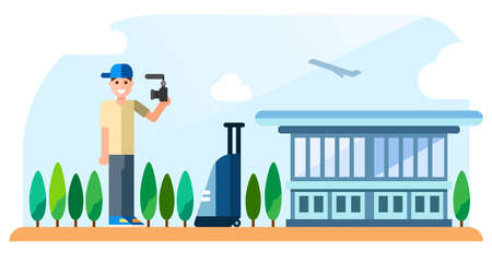A traveling blogger stands on the airport background and shoots himself. Flat vector illustration