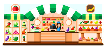 Vegetable shop indoor with seller, showcase and refrigerator. Supermarket interior with goodies. Fruits and vegetables in basket, boxes and containers. Healthy eating and eco food. Vector flat illustration Illustration