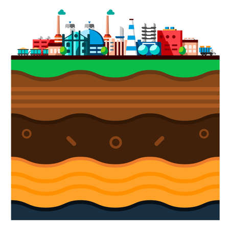 Global industrial technology process with ecology concept. Structure of the earth. Flat illustration of manufacturing buildings. Cartoon layers of the earth. Papercut style