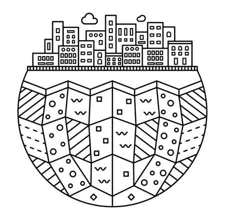 Semplice silhouette della città. Strati della terra. Illustrazione lineare isolati su sfondo bianco. Design piatto. Icona del fumetto. Illustrazione sottile lineare.