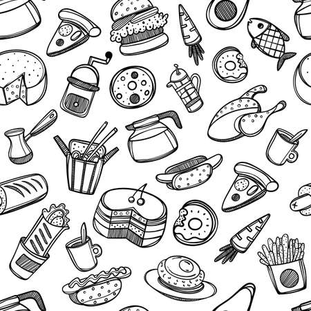 Cartoon cute food and kitchenware on white background. Seamless pattern. Linear illustration. For zentangle book. Breakfast time Stock Vector - 108127246