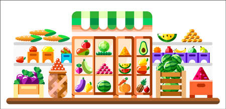 Vegetable shop indoor with showcase and refrigerator. Supermarket interior with goodies. Fruits and vegetables in basket, boxes and containers. Healthy eating and eco food. Vector flat illustration