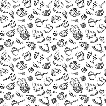 Cartoon cute food and kitchenware on white background. Seamless pattern. Linear illustration. For zentangle book. Breakfast time