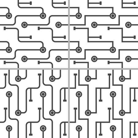 Set of 4 abstract microchip scheme. Simple monochrome lines on white background. Seamless pattern.