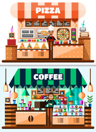 Coffee house and pizza shop interior with barista standing behind of bar counter with coffee making equipment, menu and goodies. Flat Vector Illustration Ilustração
