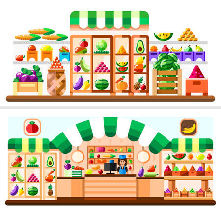 Vegetable shop indoor with seller, showcase and refrigerator. Supermarket interior with goodies. Fruits and vegetables in basket, boxes and containers. Healthy eating and eco food. Flat illustration