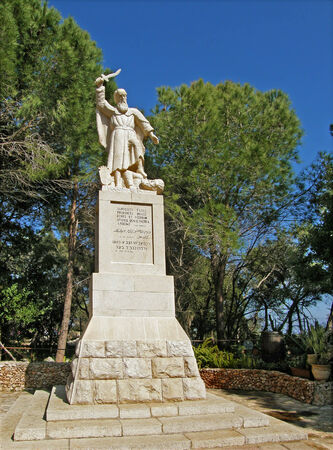 Statue of the Prophet Elias at Mount Carmel, Israel Editorial
