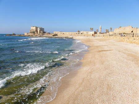 crusaders: The Breakwater of Harbour Sebastos in Caesarea National park Stock Photo