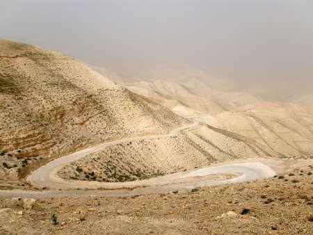 judean hills: Sandstorm in Wadi Qelt, Judean Desert, Israel
