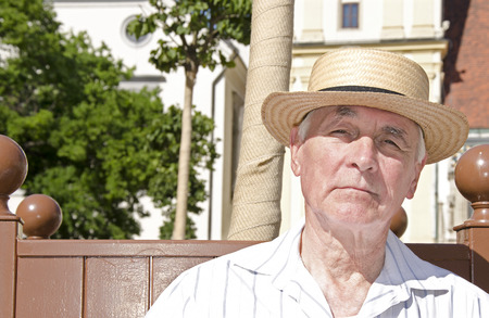 sweltering: Senior to walk in sunny day - portrait