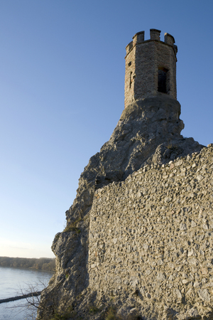 morava: The Maiden Tower and east wall of Devin castle Editorial