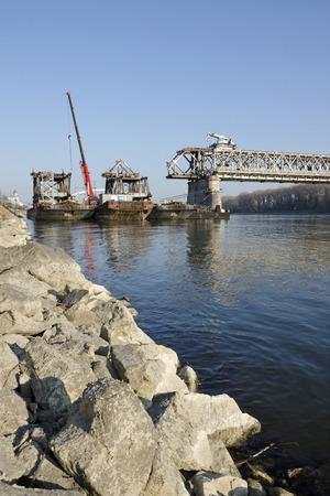 stary: The Bratislava Stary most bridge demounting Stock Photo