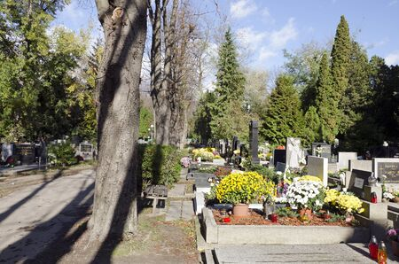 all saints  day: The graven on cemetery on All Saints Day. Editorial