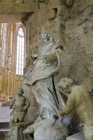 The baroque stone sculpture of the Virgin Mary Immaculate