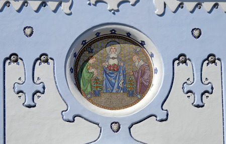 elisabeth: The mosaic with st. Elisabeth of art-deco St. Elisabeth church