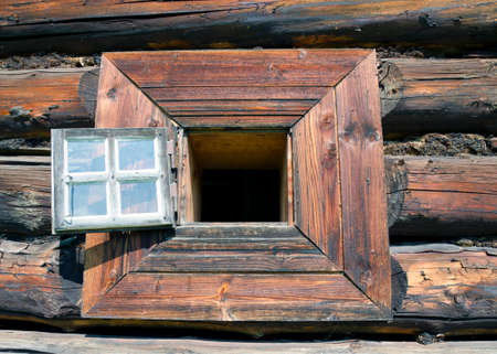 slovak: The window of the wooden traditional slovak house