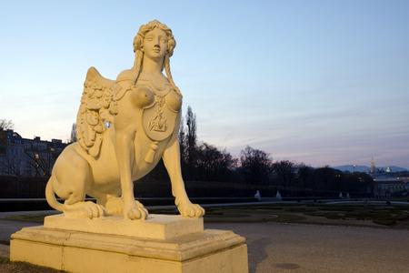 Sphinx statue in the Belvedere Garden in Vienna Austria representing strength and intelligence. photo