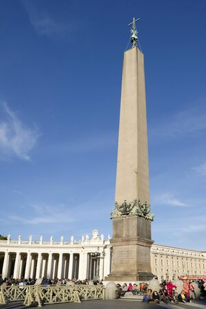 obelisk: The tourists near the obelisk at Saint Peters Square