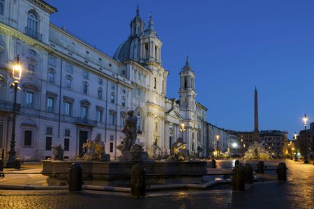 navona: The Piazza Navona in Rome, Italy, by night