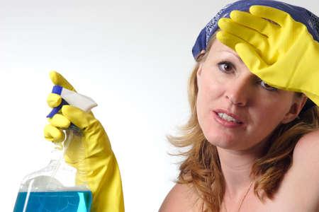 d�sinfectant: Femme de nettoyage Banque d'images