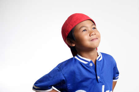 Happy Kid looking up Stock Photo