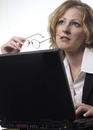 saleswomen: Business woman thinking