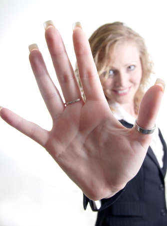 woman's: Womans Hand with thumb ring Stock Photo