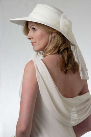 rin: Profile of a Bride in a Hat Stock Photo