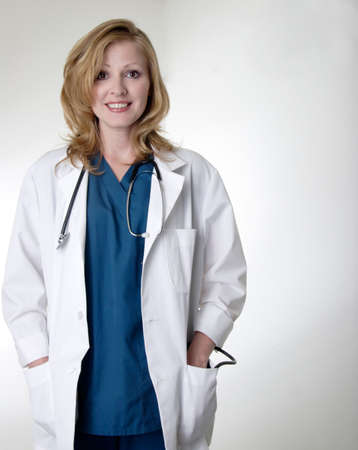 Lady doctor wearing lab coat