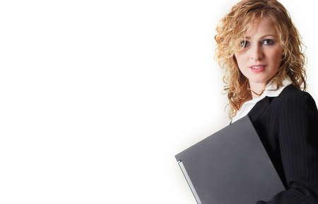 e pretty: Woman holding laptop