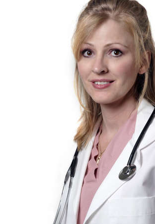 Friendly lady doctor on white background Stock Photo