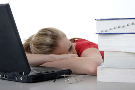 final thoughts: Taking a rest from homework Stock Photo