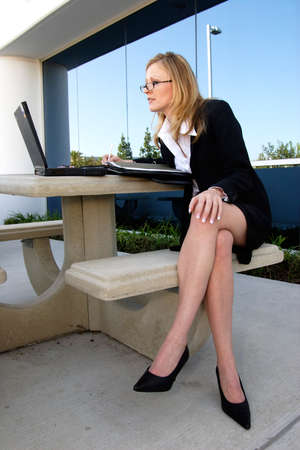 Business executive working outside Stock Photo