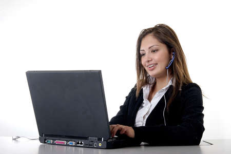 Secretary typing on computer