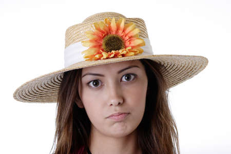 Girl in a sunflower hat photo