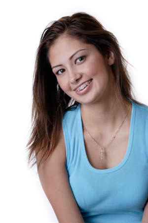 orthodontic: Smiling young girl wearing braces