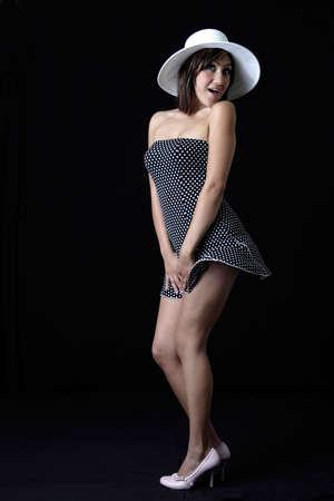 polka dotted: Cute ni�a en traje de lunares salpicados  Foto de archivo