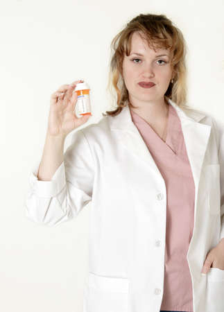 Lady pharmacist showing a prescription photo