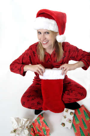 morning glory family: Happy woman on Christmas  Stock Photo