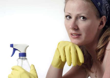 higienizar: Woman ready to do house cleaning Banco de Imagens