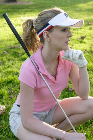 Lady golfer waiting to tee off Stock Photo - 285556