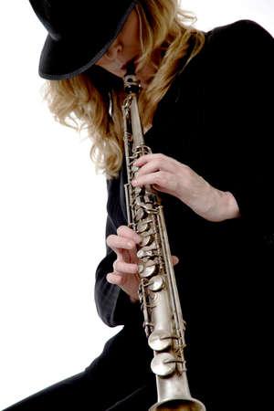 soprano saxophone: Lady saxofonista soprano  Foto de archivo