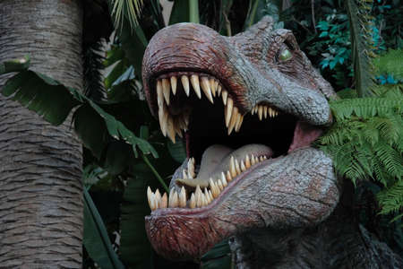 A look inside a dinosaurs huge mouth full of razor sharp teeth