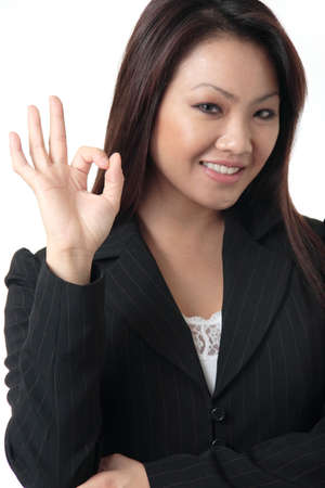 affirm: Friendly Asian Business woman giving the