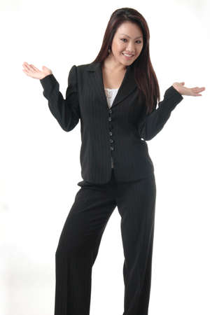 whatever: Attractive business woman with hands out on white background