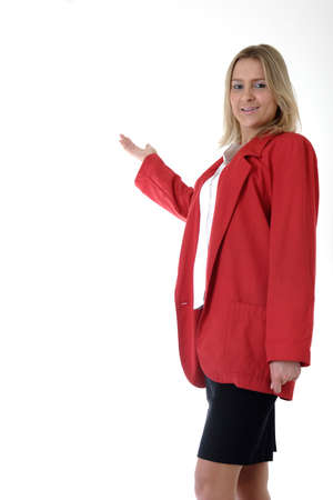 blazer: Woman in red blazer with hand as if presenting something Stock Photo